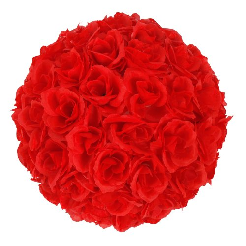 Elegant 10 Inch Satin Flower Ball for Wedding Party Ceremony Decoration (Red)
