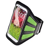 SumacLife Running Sports GYM Armband Case For LG G2 / LG Nexus 5 / LG Nexus 4 / LG Optimus GK (Green-Mesh)