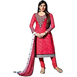 Fabtantra Womens Cotton Straight Dress Material (10079 -Pink -Free Size)