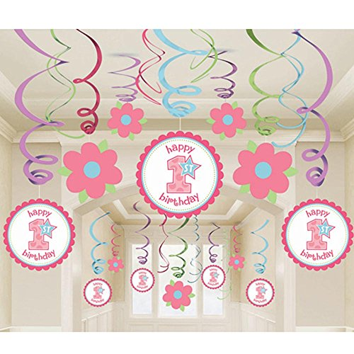 Birthday 'Sweet Lil' Cupcake Girl' Hanging Swirl Decorations (12pc)
