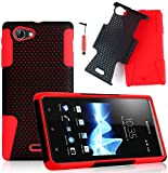 Magic Global Gadgets - Red Dual Combo Mesh Soft Silicone Rubber Hybrid Shock Proof Case Cover For Sony Xperia J ST26i / ST26A With Screen Guard, Cleaning Cloth & Stylus Pen
