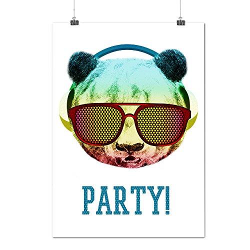 Music Fan Panda Bear Funky Cool Matte/Glossy Poster A4 (9x12 inches)   Wellcoda (Fan Pull Panda compare prices)