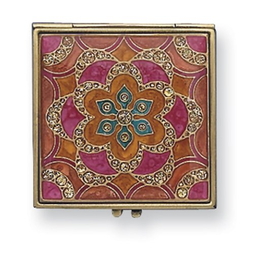 Gold-tone Enameled Compact Mirror