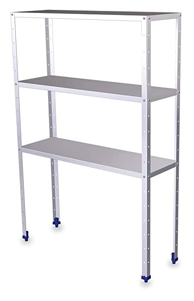 Shelf (L) 140- (H) 175- 50 cm with 3 Levels Stainless Steel Shelves depaisseur 0.8 mm (P)