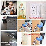 Baby Safety Starter Kit - (18 PIECE SET) Includes Cabinet Locks, Multipurpose Latches to Baby Proof Cabinets, Drawers, Fridge, Dishwasher, Toilet Seats. Bonus Door Stopper, Outlet and Corner Guards
