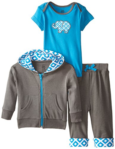 Yoga Sprout Baby-Boys 3 Piece Elephant Hoodie Bodysuit and Pant Set