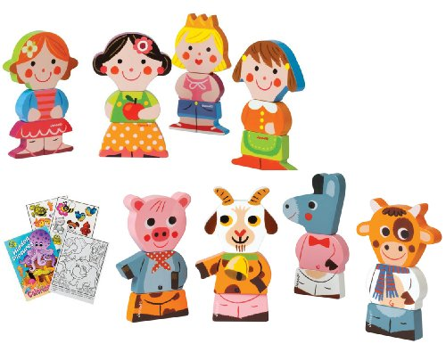 Janod Dolls & Farm Animals Magnetic Wooden Stacking Blocks with Coloring Book - 1