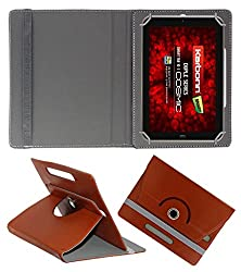 Acm Rotating 360° Leather Flip Case For Karbonn Cosmic Smart Tab 10 Tablet Cover Stand Brown