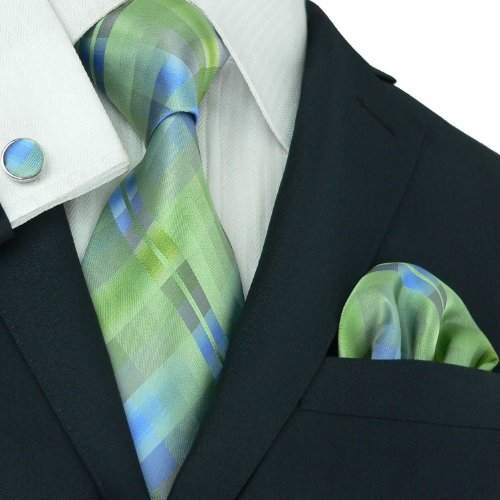 Landisun Grid Plaids Checks Mens Silk Tie Set: Tie+Hanky+Cufflinks 26H Green, 3.75
