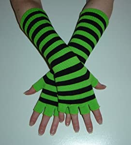 Long Lime green & Black stripe Fingerless Gloves - One