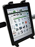 ChargerCity 360° Swivel Adjustment for New Apple iPad iPad 2 3 Kindle Fire Nook Color Universal Tablet Handle Bar Mic Microphone Stand Exercise Machine Shopping Cart Wheelchair Golf Push Cart Strap Lock Mount (Fits aany shape handle bar from .75″ to 1.5″)
