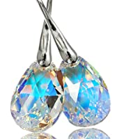 Victoria's Secret Angel's Style 925 Solid Silver Earrings With Zircon Amazing Eternal Love Teardrop Swarovski Elements Crystal Earrings Set for Women Multi-colored Reflecting Light 2013 Bridal Sterling Silver 925 Drop and Dangle Earrings- 16mm crystal Blu
