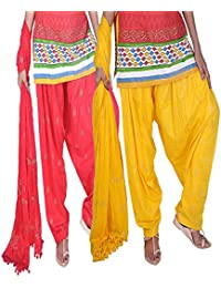 Womens Cottage Women's Combo Pack Of 2 Rogan Gold Printed Cotton Semi Patiala Salwar & Cotton Dupatta Stole With... - B01C46YIOG