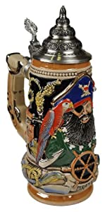 Beer Stein by King - Pirat Blackbeard Full Relief Authentic German Beer Stein (Beer Mug) 0.5l Limited Edition - Made in Germany
