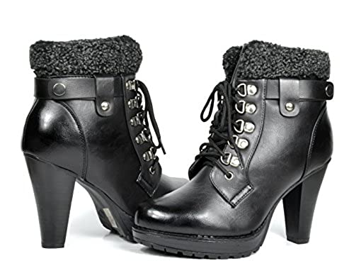 14. DREAM PAIRS EARTH Women's Fashion Ankle Lace Up Fur Interior Chunky Heel Platform Combat Boot Booties