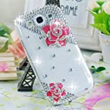 New Handmade Peach Rose 3D Bling Crystal Case Cover For Galaxy S3 i9300 0791