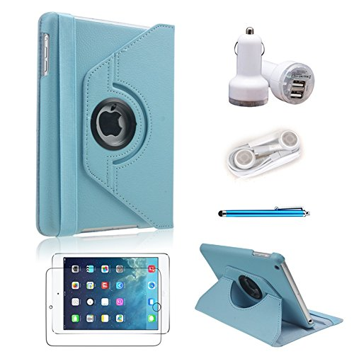 [5 In 1 Bundle] Icrown(Tm) 2014 New Arrival Slim-Fit Folio Cover Case (Blue) For Ipad Mini / Ipad Mini 2 - 360 Degree Rotating ¨C Multi Angle Stand - Auto Sleep / Wake Function?With Stylus Pen, Screen Protector, Car Charger And Earphone (Blue 5In1)