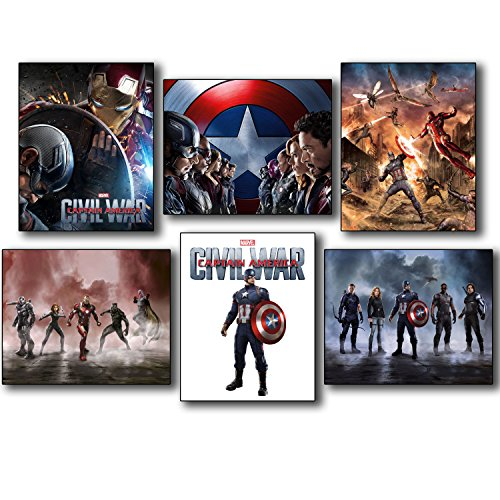 Captain America Civil War Collectors Photo Prints - Set of Six 8x10 Wall Art Posters (Cool Posters Marvel compare prices)