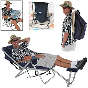 WearEver Deluxe Backpack Lounger / Chair with Large Storage Pocket Rio Colors SC: Navy Blue, with Removable Foot Rest Size SC: Removable Foot Rest, No Cooler Pouch, 4 pos.