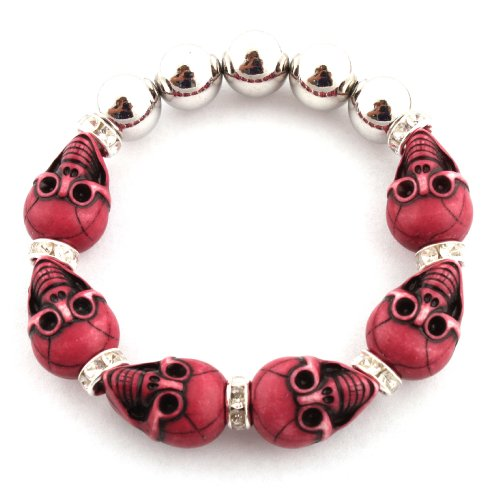 Unisex Half Metal Bead & Dark Pink Two Faced Skull with Iced Out Rondelle Loops Stretch Bracelet