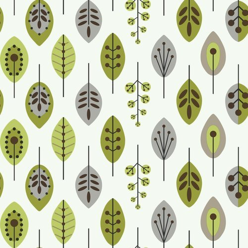 York Wallcoverings KB8525 Bistro 750 Retro Leaves Prepasted Wallpaper