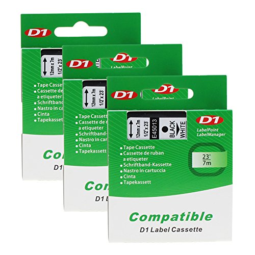 3-x-d1-45013-s0720530-black-on-white-standard-labelling-tapes-compatible-with-dymo-labelmanager-100-