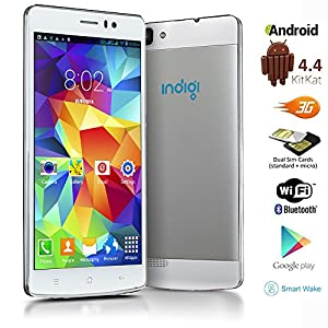 Indigi® GSM Unlocked 5.5-inch 3G Speed DualSim Android 4.4 Smart Cell Phone AT&T T-Mobile Straight Talk (White)