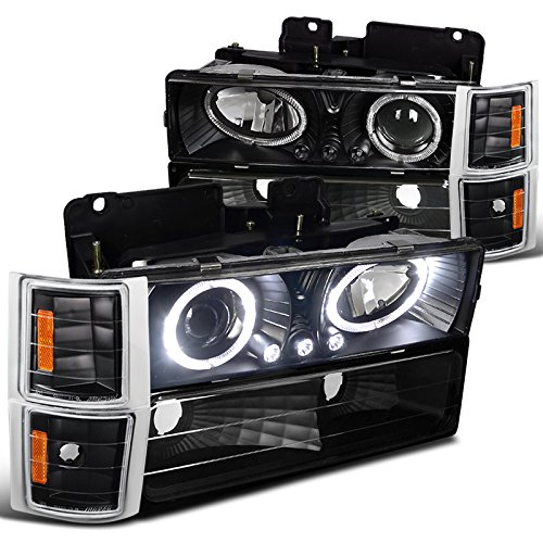 Chevy C10 CK Tahoe Silverado Halo LED Black Projector Headlights+Corner Bumper (1997 Chevy Silverado 1500 Led compare prices)