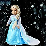 Ebuddy ® Disney Frozen Elsa Sparkle Princess Dress for 18 American Girl Doll Clothes