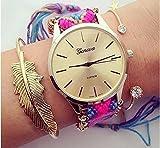 【選べる7色&ミニ巾着付き】カラフル ミサンガ ウォッチ ブレスレット 腕時計 バングル 夏 海 おしゃれ ハワイ