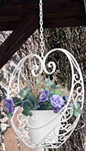 Heart Shaped Cream Metal Hanging Basket Planter Pot Shabby