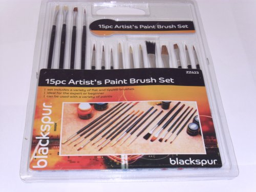 Blackspur 15Pc Assorted Artist Brushes