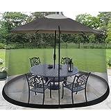 Garden Creations JB5678 Outdoor 9-Foot Umbrella Table Screen, Black