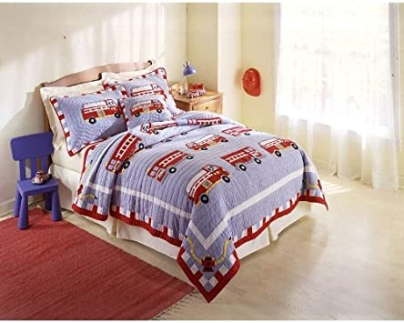 Lovely Full Queen Fire Truck Bedding Set Kids Bedding Childrens Bedding Comforters Bedding