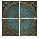 IMAX Blue Quarter Medallion Wall Panels, Set of 4