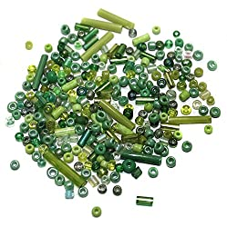 Beadsnfashion Seed Bugles Beads Green Assorted (100 Gm), Size 11/0