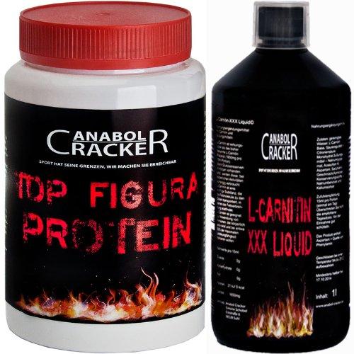 Top Figura Protein, 400g Slim / Diät / Fatburner, Eiweißpulver + L-Carnitin XXX Liquid, 110.000mg / 1L Flasche