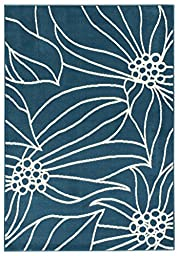 Fancy Floral Garden Leaves Turquoise Blue 8\'2\