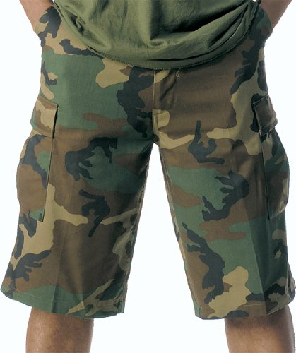 ROTHCO LONG LENGTH BDU SHORT - WOODLAND CAMO size Xlarge Button Down Camouflage Shorts