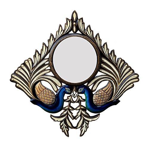 Divraya Wood Peacock Wall Mirror (60.96 Cm X 4 Cm X 60.96 Cm)