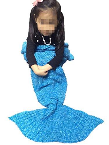 Mermaid Decke Wolle gestrickt Fischschwanz der Couch Klimaanlage Geburtstagsgeschenk (140 * 70cm) blau