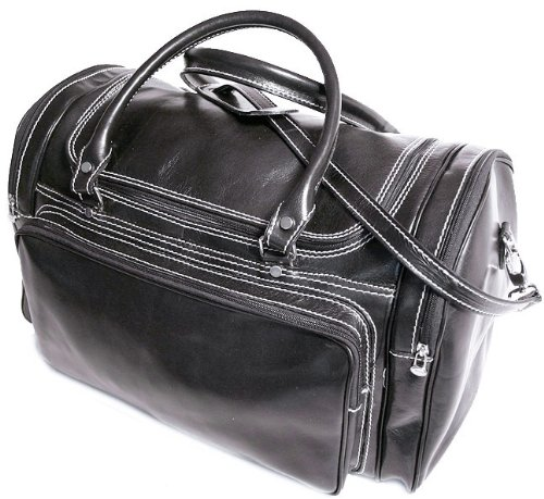 Floto Luggage Torino Duffle, Black, Large Torino Leather Duffle Bag