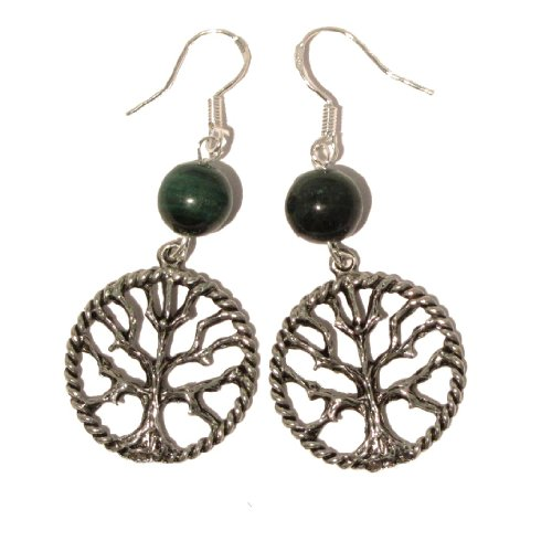 Malachite Earrings 10 Dangle Silver Pewter Tree of Life Genuine Green Crystal Healing Stone Sterling 2
