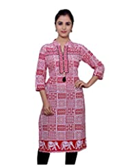 Adesa Women's Cotton Self Print Regular Fit Kurti - B00VHSE8TI