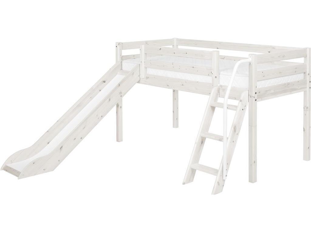 Hochbett, Flexa Classic, 90x190cm, Spielbett mit Rutsche, Weiß lasiert