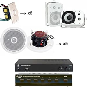 """Pyle Studio Audio System for the Studio, Bar, Concert, Stage, Performance, Home, etc. - PAMP1000 160 Watt Home Stereo Power Amplifier - PSS6 6 Channel High Power Stereo Speaker Selector - x5 PDIC60 5 Pairs of the 250 Watt 6.5'' Two-Way In-Ceiling Midbass Speaker System (5 Pairs) - x6 PVC1 6 of the Wall Mount Rotary Volume Control Knob - PDWR40W 5.25"""" Indoor/Outdoor Waterproof Speakers (White) (Pair)"""