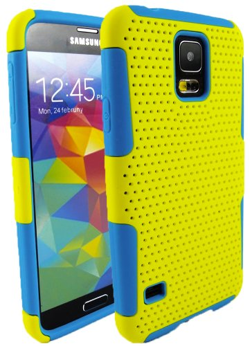 Mylife (Tm) Bright Yellow And Sky Blue - Perforated Mesh Series (2 Layer Neo Hybrid) Slim Armor Case For The New Galaxy S5 (5G) Smartphone By Samsung (External Rubberized Hard Shell Mesh Piece + Internal Soft Silicone Flexible Gel + Lifetime Warranty + Se