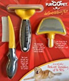 FurGOpet Deshedding Kit, 4″ Deshedding Tool for Dogs + Comb + Slicker Brush = Value Bundle