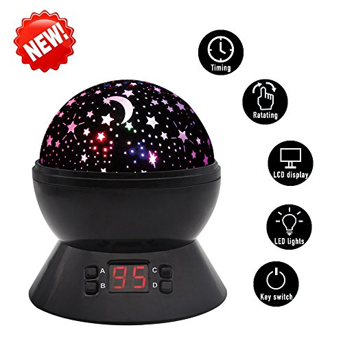 SCOPOW Constellation Night Light Star Sky with LED Timer Auto-Shut Off, 360 Degree Rotation Colorful Moon Night Lamp Gift for Baby Kid Children Bedroom Nursery Decor (Black) (Light Night Led compare prices)