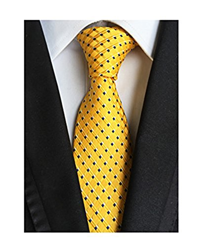MENDENG Black Gold Striped Tie Woven Jacquard Silk Men's Suits Ties Necktie (Men Ties Yellow compare prices)